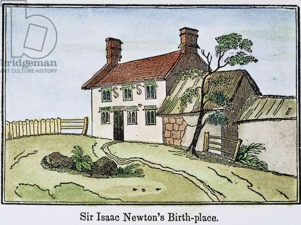 ISAAC NEWTON BIRTHPLACE Woolthorpe House, Lincolnshire, England, the birthplace of Sir Isaac Newton (1642-1727): line engraving, English, 1848.