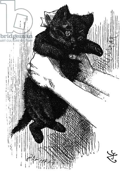 CARROLL: LOOKING GLASS Alice's kitten, Dinah. Wood engraving after Sir John Tenniel for the first edition of Lewis Carroll's 'Through the Looking Glass,' 1872.