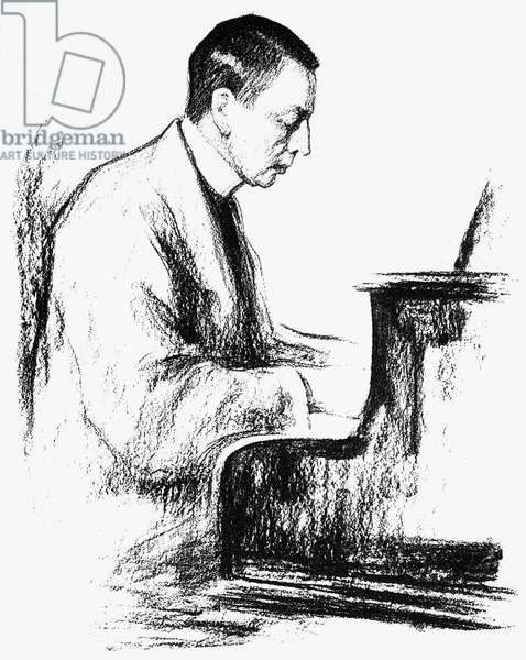 SERGEI RACHMANINOFF (1873-1943). Russian composer, conductor, and pianist. Sketch by Leonid Pasternak (1862-1945).