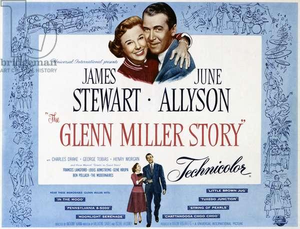FILM: GLENN MILLER STORY American poster for the film 'The Glenn Miller Story,' featuring James Stewart and June Allyson, 1954.