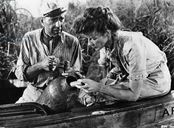 FILM: AFRICAN QUEEN, 1951 Humphrey Bogart and Katharine Hepburn in 'African Queen' directed by John Houston, 1951.