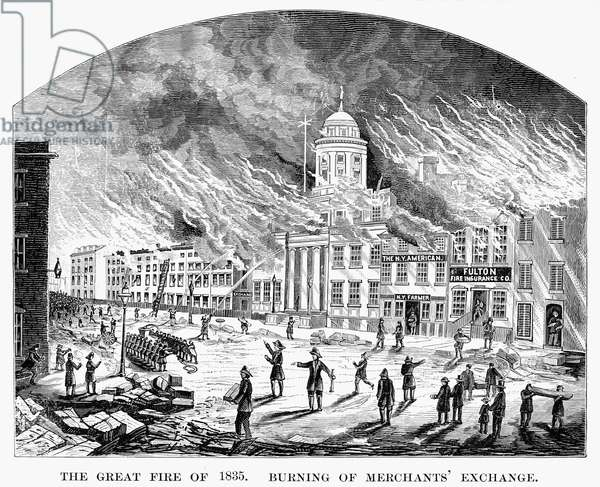 WALL STREET FIRE, 1835 The Merchants' Exchange in New York City ablaze during the great fire of 1835. Line engraving, 19th century.