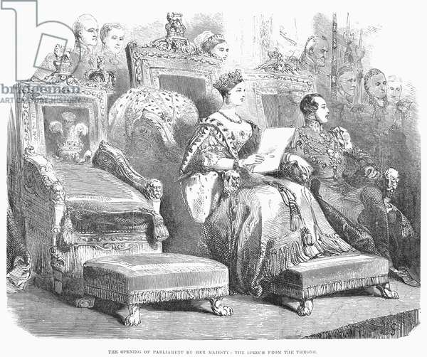 VICTORIA (1819-1901) Queen of Great Britain, 1837-1901. Queen Victoria opening Parliament in 1846. Contemporary English wood engraving.