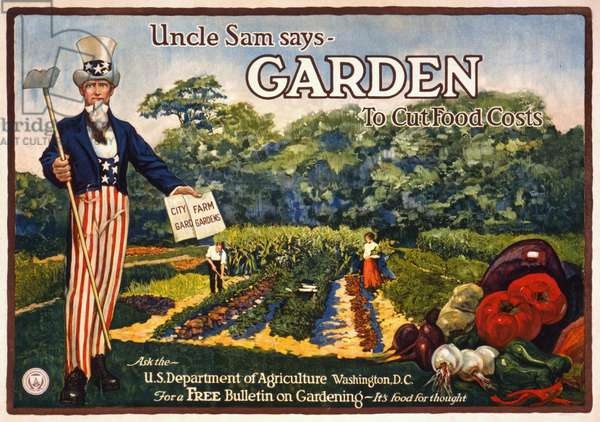 POSTER: UNCLE SAM, 1917 'Uncle Sam says - Garden to cut food costs.' Lithograph, 1917.
