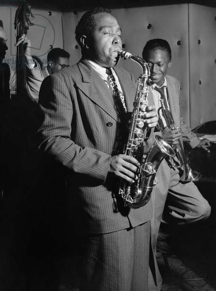 CHARLIE PARKER (1920-1955). American jazz musician. Performing with Miles Davis, Tommy Potter and Max Roach at the Three Deuces in New York City. Photograph by William P. Gottlieb, c.1947.