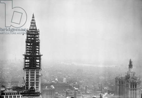 WOOLWORTH BUILDING, 1912 Tower construction for the Woolworth Building on lower Broadway, New York City, which was completed in April 1913. Photograph, c.1912.