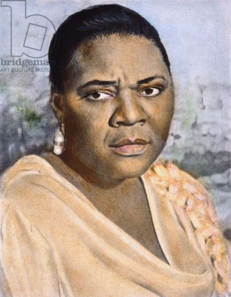 BESSIE SMITH (1894 or 1898-1937). American singer and songwriter. Oil over a photograph, early 20th century.