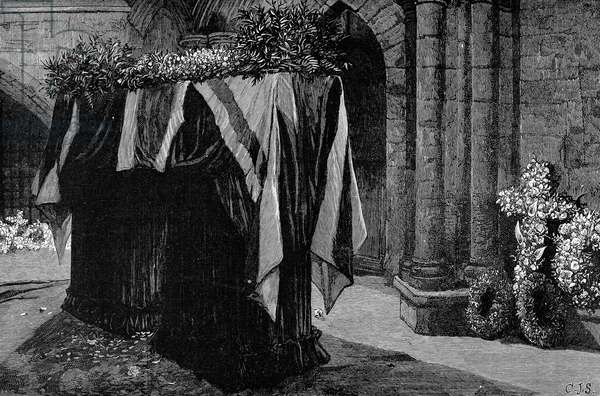 ALFRED TENNYSON (1809-1892) 1st Baron Tennyson. English poet. Tennyson's coffin in Westminster Abbey for his funeral in 1892. Wood engraving from a contemporary English newspaper.