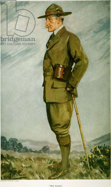 LORD BADEN-POWELL (1857-1941). Robert Stephenson Smyth Baden-Powell. 1st Baron of Gilwell. English soldier; founder of the Boy Scouts. English lithograph, 1911.