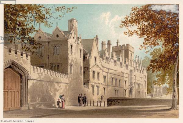 OXFORD: ST. JOHN'S COLLEGE Lithograph, c.1885.
