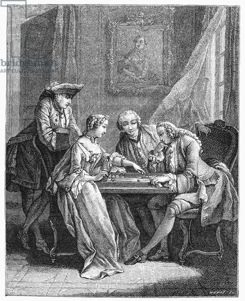 FRANCE: BACKGAMMON, c.1750 Line engraving, 19th century, after Eisen.
