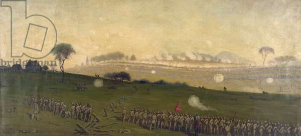 CIVIL WAR: GETTYSBURG General Pickett's charge on the Union center at the Grove of Trees during the Battle of Gettysburg. Painting by Edwin Forbes, mid to late 19th century.