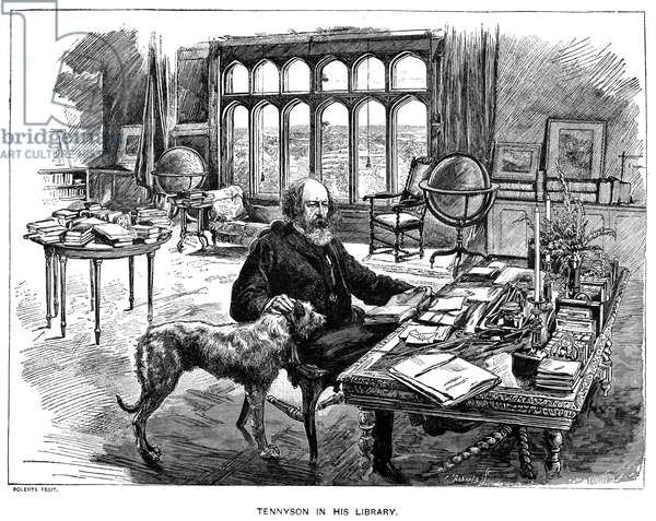 ALFRED TENNYSON (1809-1892) 1st Baron Tennyson. English poet. Tennyson in his library with his dog. Wood engraving, 19th century.