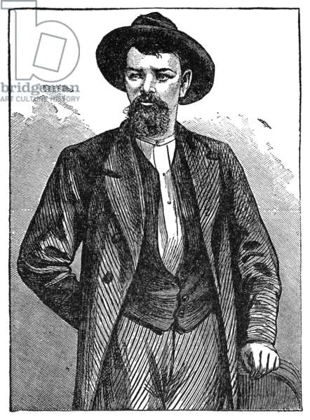 JESSE JAMES (1847-1882) American outlaw. Wood engraving, c.1882.