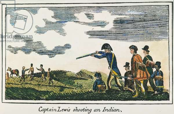 LEWIS & CLARK: NATIVE AMERICAN, 1811 Meriwether Lewis shooting a Native American during the Lewis & Clark expedition. coloured  engraving, 1811, from a contemporary account of the expedition.