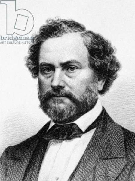 SAMUEL COLT (1814-1862) American inventor. Steel engraving, American, 19th century, after a photograph by Mathew Brady.