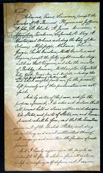EMANCIPATION PROC., P. 3 Abraham Lincoln's holograph manuscript, 1863.
