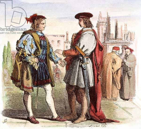 SHAKESPEARE: TWO GENTLEMEN. The two gentlemen, Valentine and Proteus, meet in a piazza in Verona (Act I, Scene 1), from William Shakespeare's 'The Two Gentlemen of Verona.' Engraving after Sir John Gilbert, c.1860.