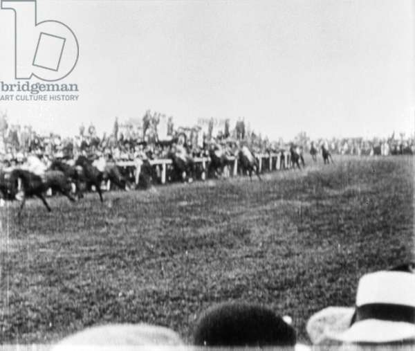 WOMEN'S RIGHTS: DERBY 1913 The scene at the Epsom Derby moments before militant suffragette Emily Wilding Davison threw herself before the King's horse, 4 June 1913.