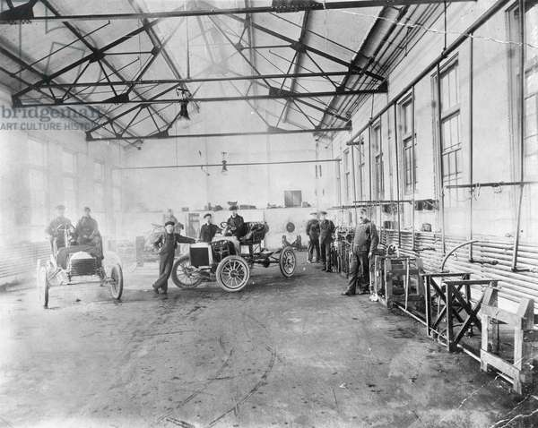 FORD AUTO FACTORY Testing at Henry Ford's Piquette plant. Photograph, c.1905.