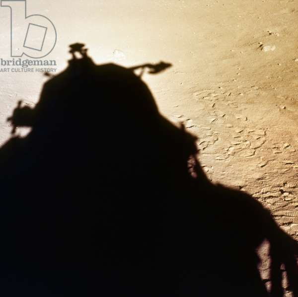 APOLLO 11: LANDING, 1969 The shadow of the Apollo 11 Lunar module silhouetted against the surface of the moon. Photograph, 20 July 1969.