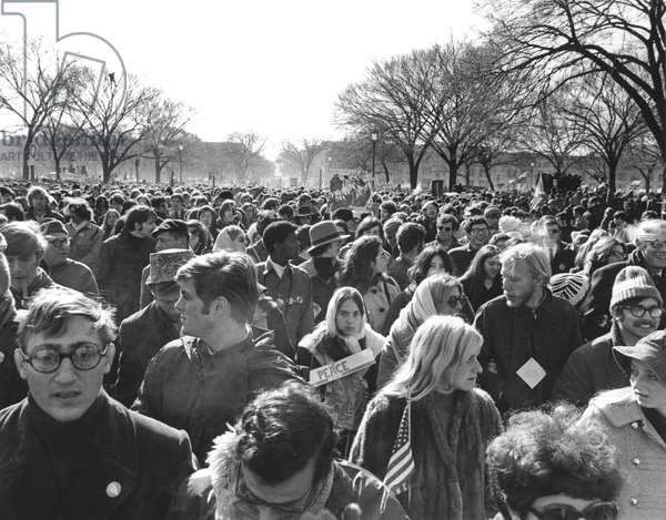 ANTI-WAR PROTEST, 1969 Some 600,000 people gather on the Mall in Washington, D.C., on 15 November 1969, to march in protest of the war in Vietnam.