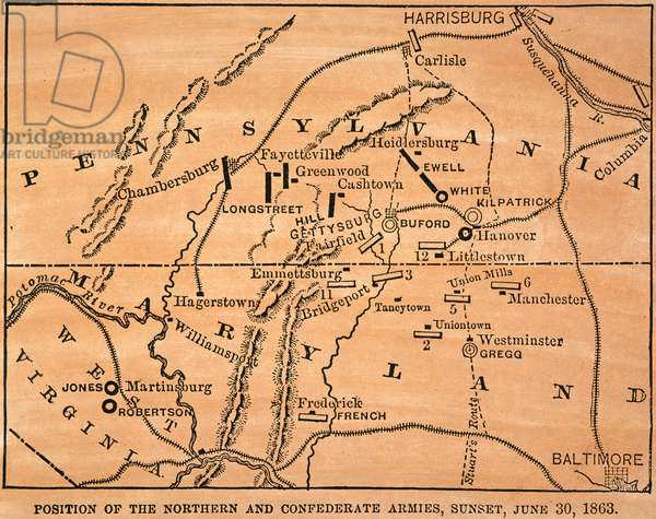 BATTLE OF GETTYSBURG, 1863 Map showing the positions of the Union and Confederate forces on the eve of the Battle of Gettysburg, 30 June 1863.