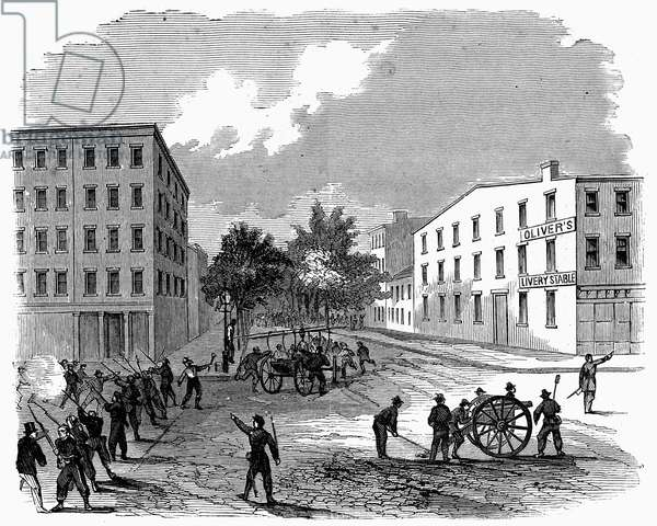CIVIL WAR: DRAFT RIOTS The rioters repulsed at the corner of 7th Avenue and 28th St. during the New York City Draft Riots of July 13-16, 1863. Wood engraving from a contemporary German-language American newspaper.