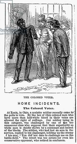 THE coloured  VOTER, 1867 Wood engraving from an American newspaper of 1867.