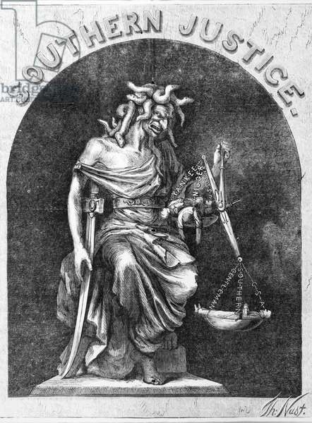 SOUTHERN JUSTICE, 1867 Central detail of the American cartoon 'Southern Justice' by Thomas Nast, 1867.