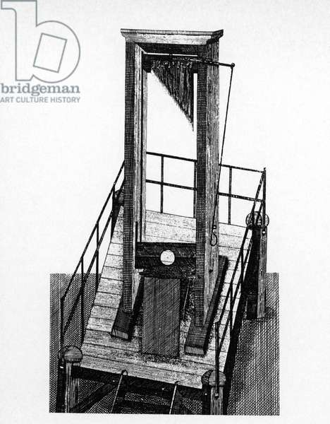 GUILLOTINE Line engraving, French, c.1790.