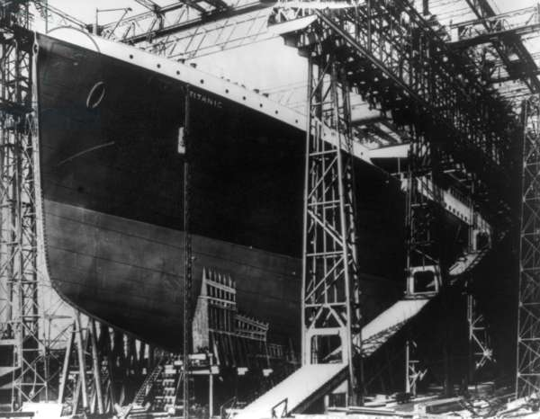 TITANIC: CONSTRUCTION, 1912 The RMS 'Titanic' in drydock at Harland & Wolff shipyard, Belfast, Ireland. Photographed 1912.