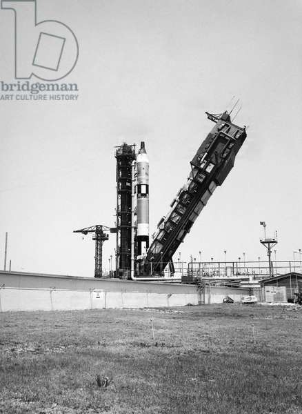 SPACE: GEMINI IV, 1965 View of the Gemini IV at Cape Kennedy, Florida, during a launch simulation excercise, 21 May 1965.