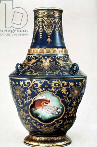 CHINA: REVOLVING VASE Body has window to display fish painted on core. Ch'ien Lung Empire (1736-1796), Ching Dynasty.