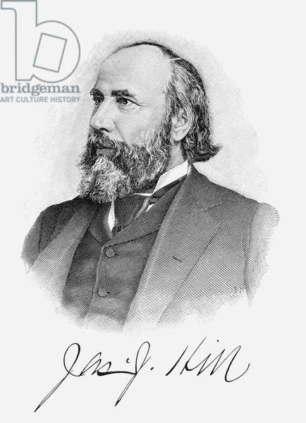 JAMES JEROME HILL (1838-1916). American railway promoter. Line and stipple engraving, 1896.