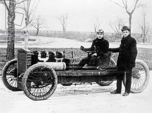 OLDFIELD & FORD, 1902 Barney Oldfield, Henry Ford and the 999 Racer. Photograph, 1902.