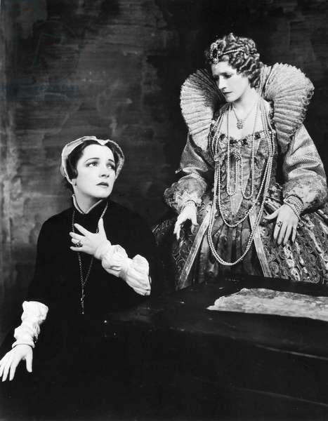 HELEN HAYES (1900-1993) American actress. As Mary Stuart (left) with Helen Mencken as Queen Elizabeth in Maxwell Anderson's 'Mary of Scotland,' 1933.