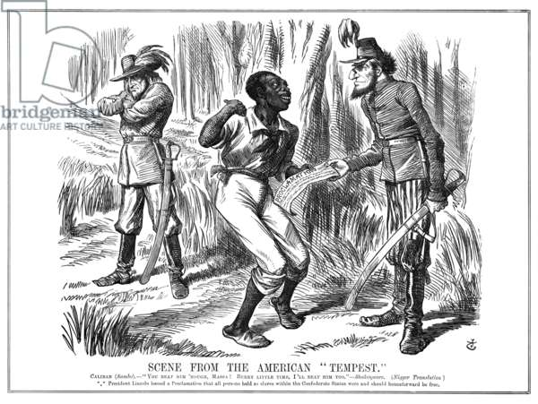 EMANCIPATION CARTOON, 1863 Scene From the American Tempest. Caliban (Sambo): 'You beat him 'nough, Massa! Berry little time, I'll beat him, too.' --Shakespeare. President Lincoln issued a proclamation that all persons held as slaves within the Confederate states were and should henceforward be free. January 24th, 1863, edition of 'Punch.'