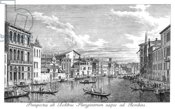 VENICE: GRAND CANAL, 1735 The Grand Canal in Venice, Italy, looking east from the Palazzo Bembo to the Palazzo Vendramin-Calergi. Engraving, 1735, by Antonio Visentini after Canaletto.