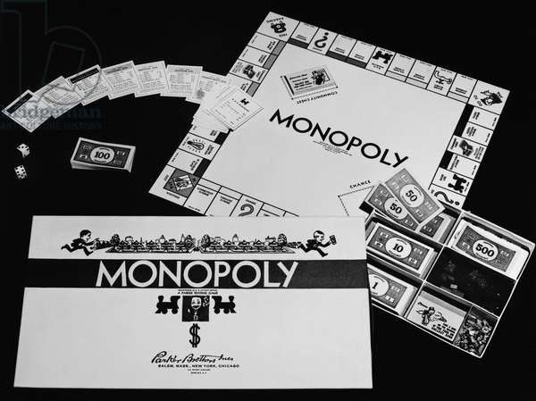 MONOPOLY BOARD GAME The American boardgame 'Monopoly,' manufactured by Parker Brothers since 1935.