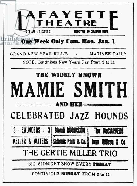 THEATER POSTER, 1920s Advertisement for a jazz program at the Layfayette Theater in Harlem, New York, in the 1920s.