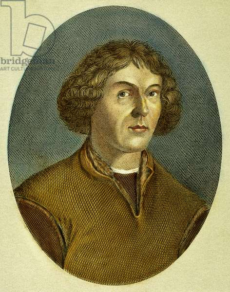 NICOLAUS COPERNICUS (1473-1543). Polish astronomer: coloured  engraving, 18th century.