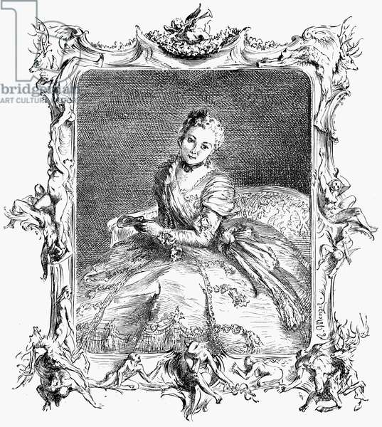MARQUISE DE POMPADOUR (1721-1764). Mistress of King Louis XV of France. Wood engraving, English, 19th century, after a woodcut by Adolf von Menzel.