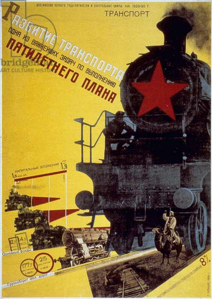 RUSSIA: FIVE YEAR PLAN Development of Transportation under the Five Year Plan. Russian poster, 1929, by Gustav Klutsis.