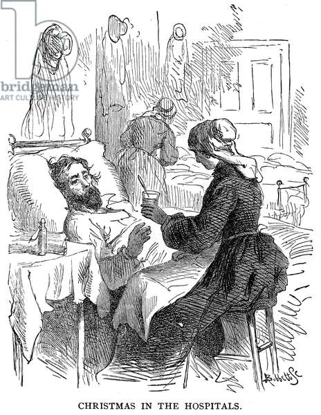 CIVIL WAR HOSPITAL Scene in a Union Army hospital during the American Civil War. Line engraving, 19th century.