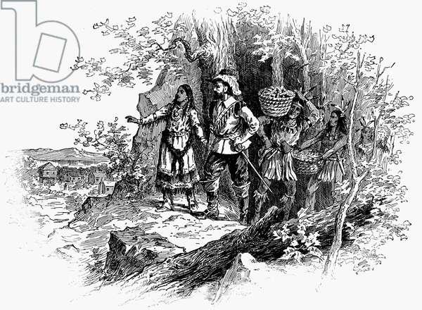 POCAHONTAS (1595?-1617) Native American princess. Pocahontas bringing corn to the colonists at Jamestown, Virginia. Wood engraving, American, 19th century.