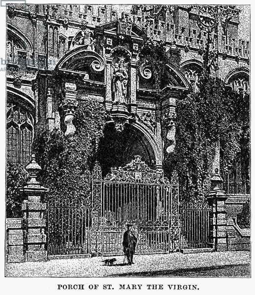 OXFORD: CHURCH Exterior view of the Church of St. Mary the Virgin, the parish church of Oxford University, Oxford, England. Wood engraving, English, c.1885.