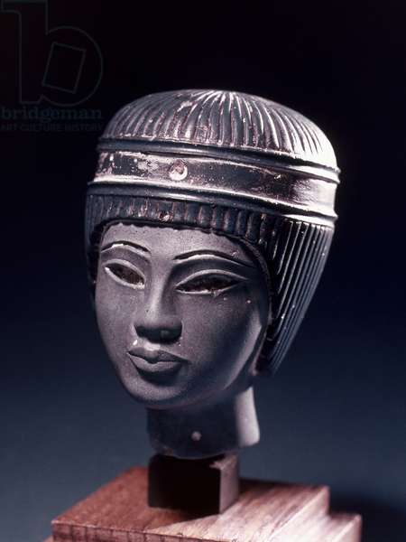 EGYPT: TUTANKHAMEN Egyptian blue faience glazed glass head of a young Pharaoh, probably Tutankhamen. 18th Dynasty.