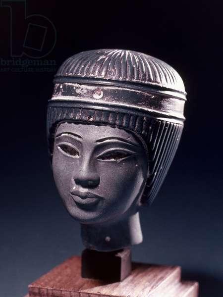 EGYPT: TUTANKHAMEN Egyptian blue faience glazed glass head of a young Pharaoh, probably Tutankhamen. 18th Dynasty.