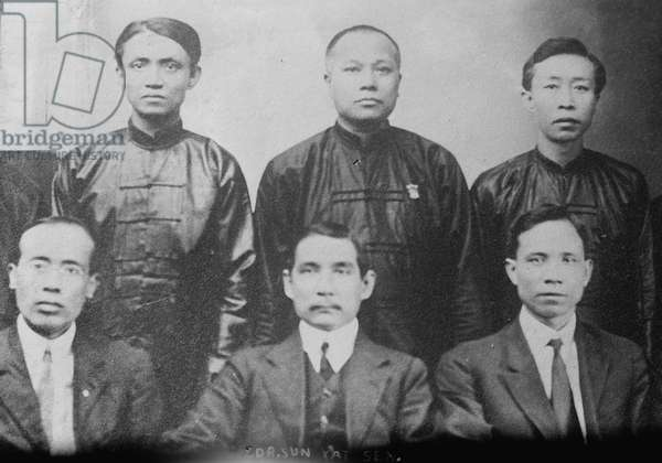 SUN YAT-SEN (1866-1925) Chinese revolutionary and a founder of the Republic of China. Pictured front center with unknown group. Photograph, c.1910.